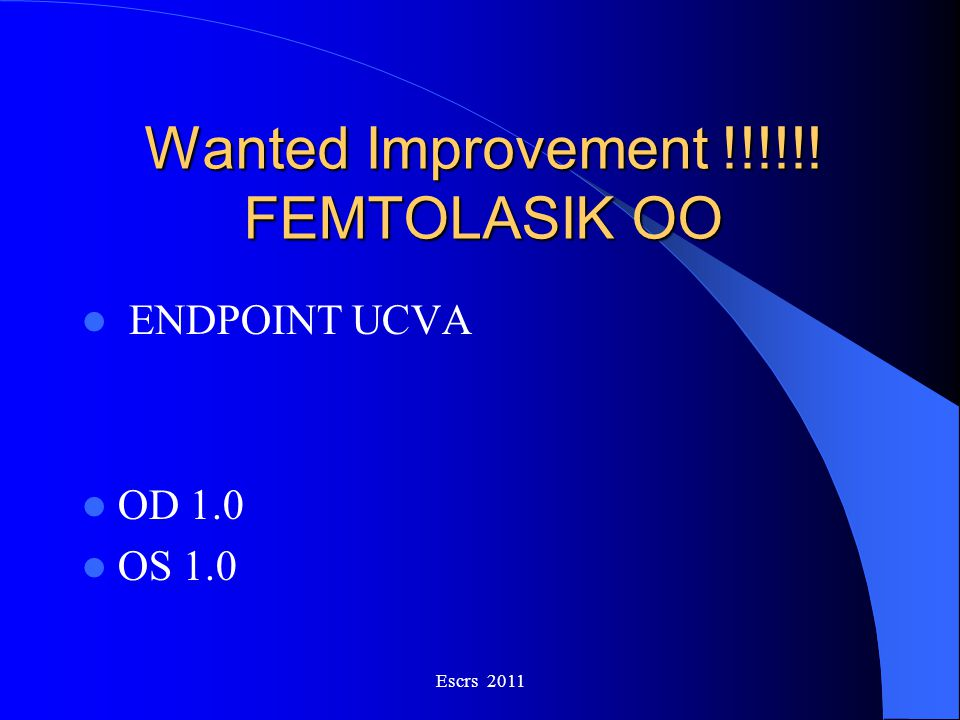 Wanted Improvement !!!!!! FEMTOLASIK OO