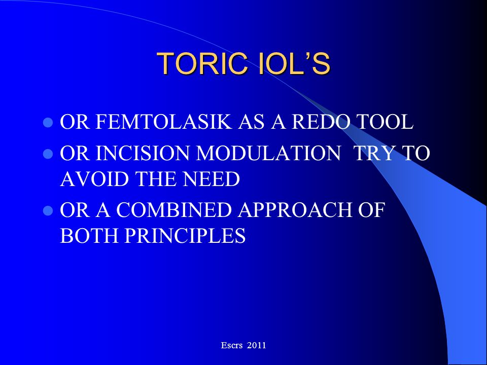 TORIC IOL'S OR FEMTOLASIK AS A REDO TOOL