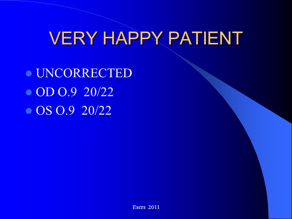 VERY HAPPY PATIENT UNCORRECTED OD O.9 20/22 OS O.9 20/22 Escrs 2011