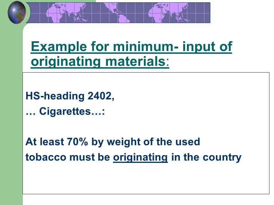 Example for minimum- input of originating materials: