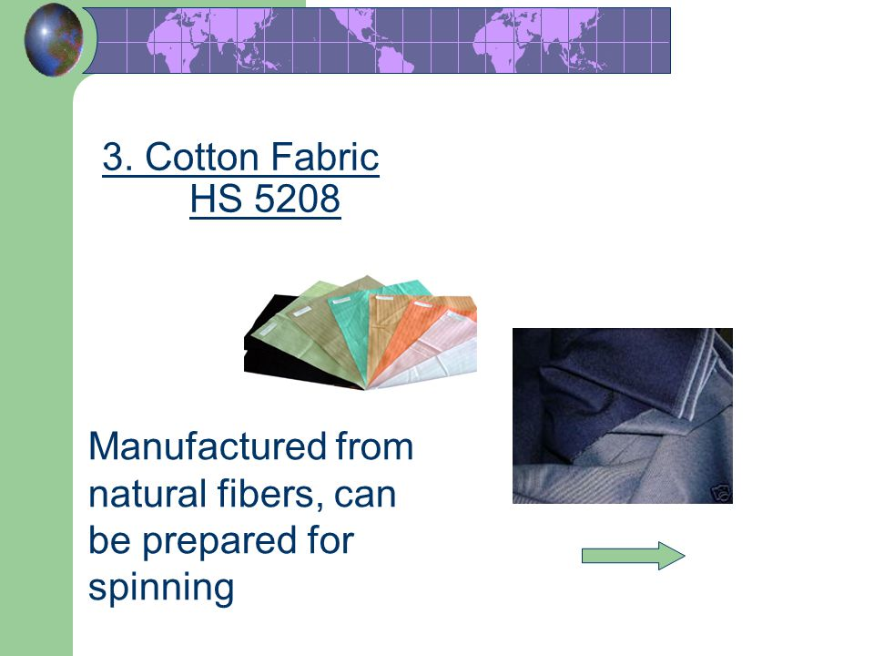 3. Cotton Fabric HS 5208 Manufactured from natural fibers, can be prepared for spinning