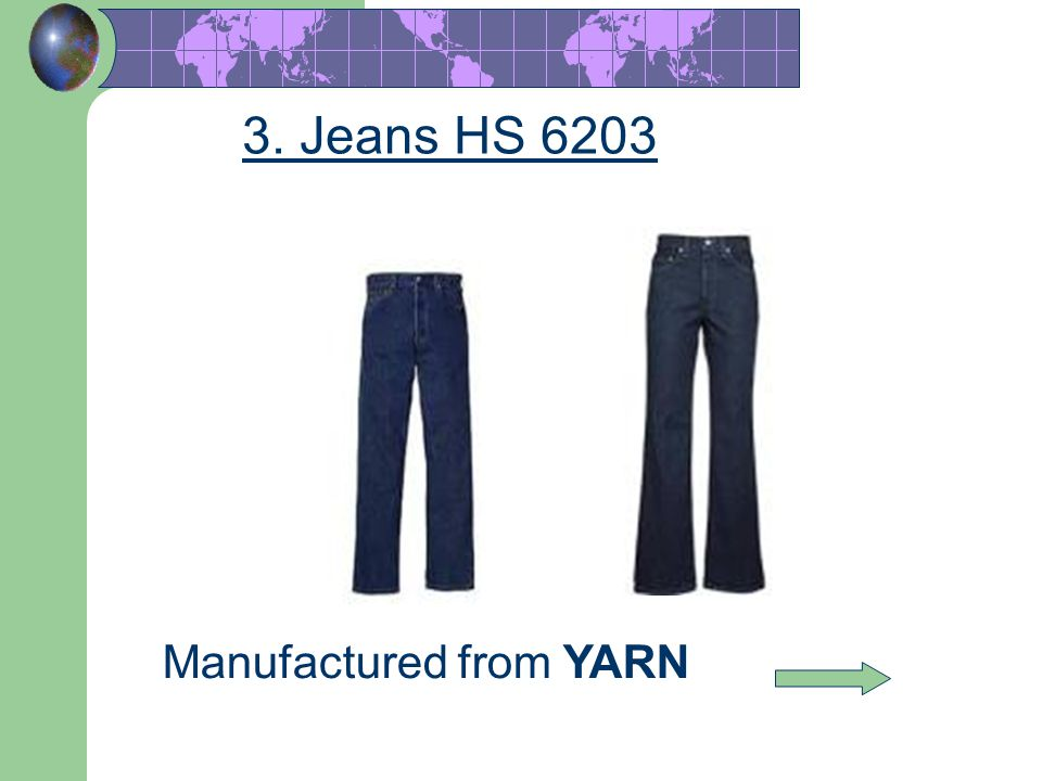 3. Jeans HS 6203 Manufactured from YARN