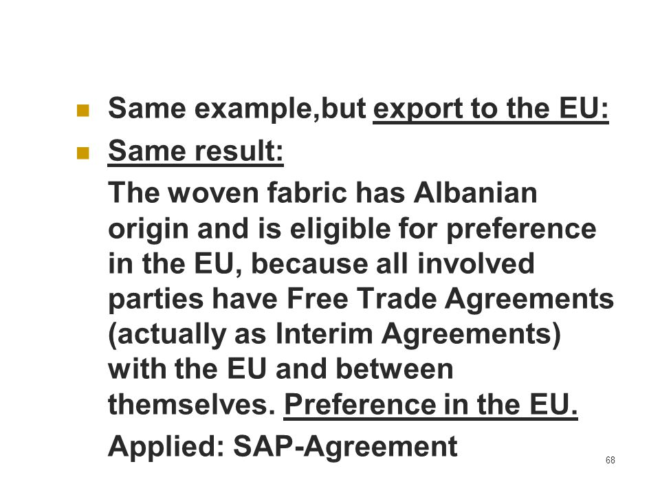 Same example,but export to the EU: