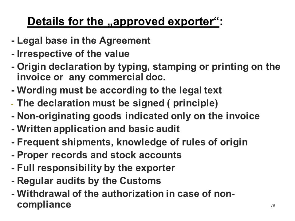 "Details for the ""approved exporter :"