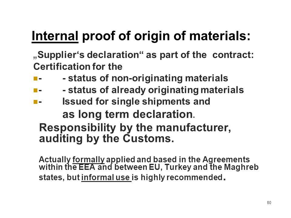 Internal proof of origin of materials:
