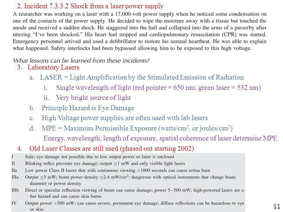 2. Incident 7.3.3.2 Shock from a laser power supply