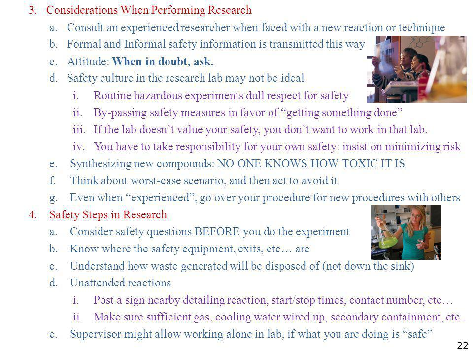 Considerations When Performing Research