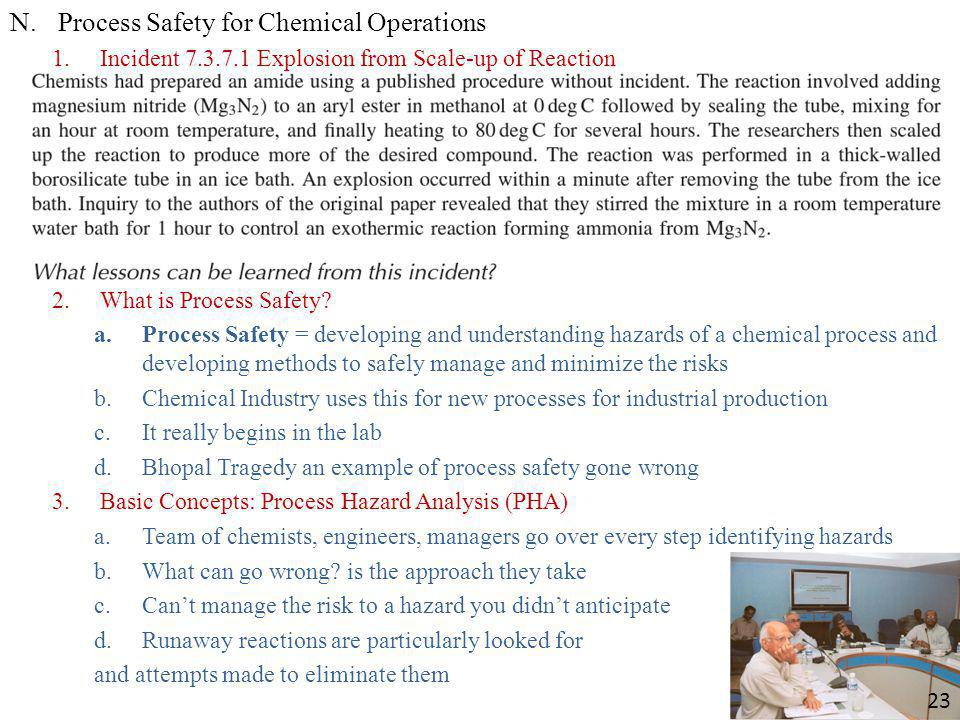 Process Safety for Chemical Operations