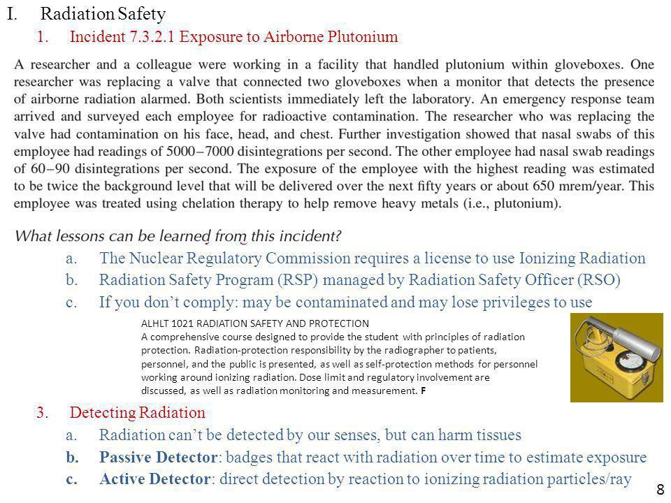 I. Radiation Safety Incident 7.3.2.1 Exposure to Airborne Plutonium
