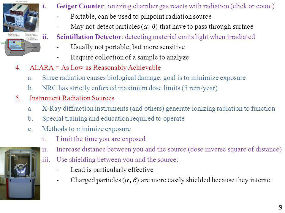 i. Geiger Counter: ionizing chamber gas reacts with radiation (click or count)