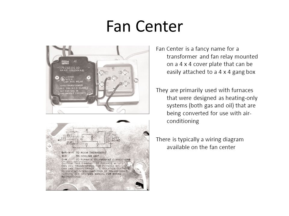 Fan Center Fan Center is a fancy name for a transformer and fan relay mounted on a 4 x 4 cover plate that can be easily attached to a 4 x 4 gang box.