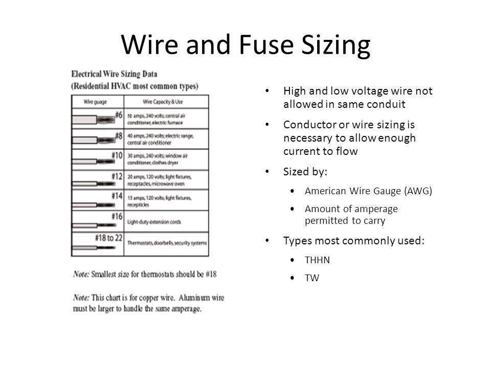 Wire and Fuse Sizing High and low voltage wire not allowed in same conduit. Conductor or wire sizing is necessary to allow enough current to flow.