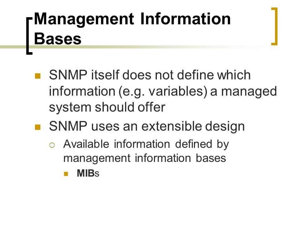 Management Information Bases
