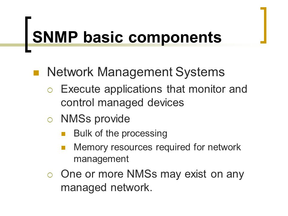 SNMP basic components Network Management Systems