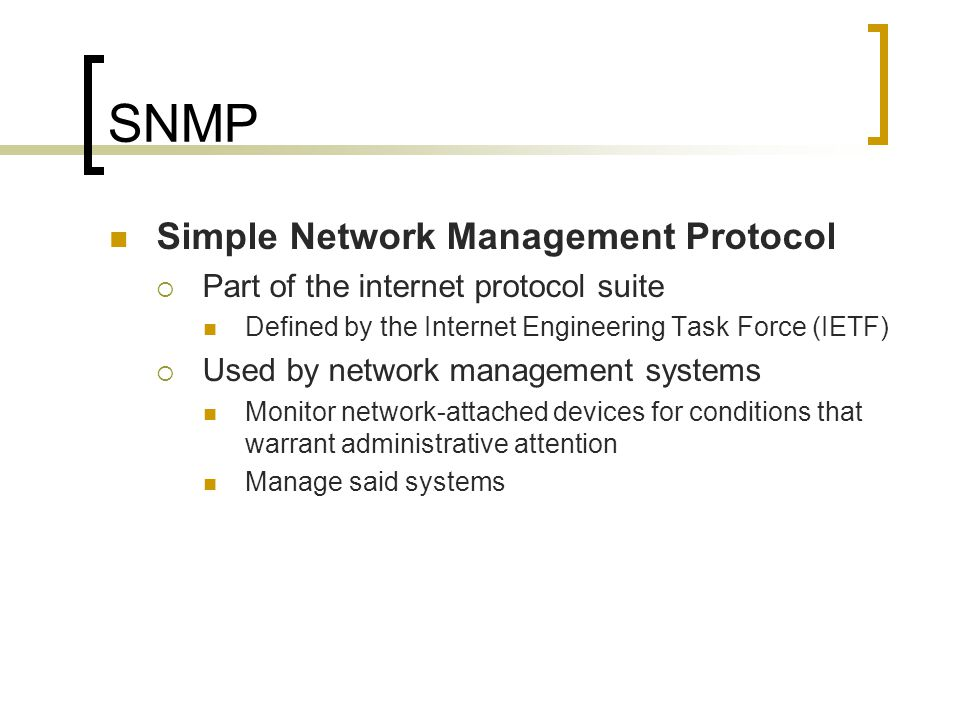 SNMP Simple Network Management Protocol