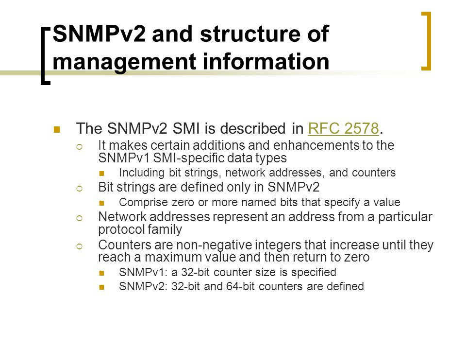 SNMPv2 and structure of management information