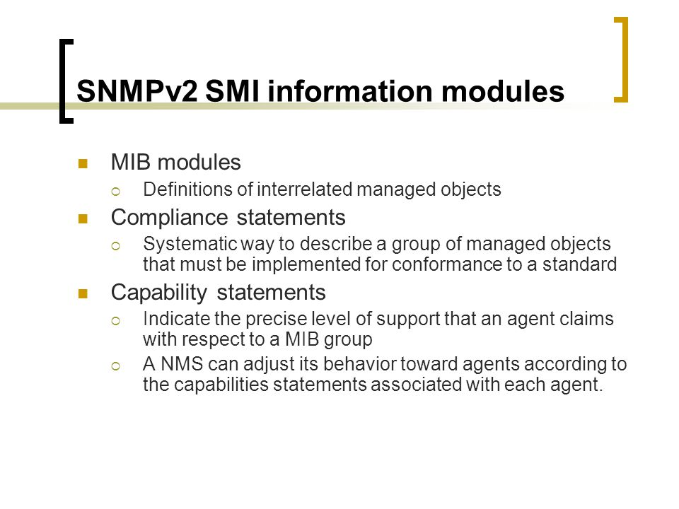 SNMPv2 SMI information modules
