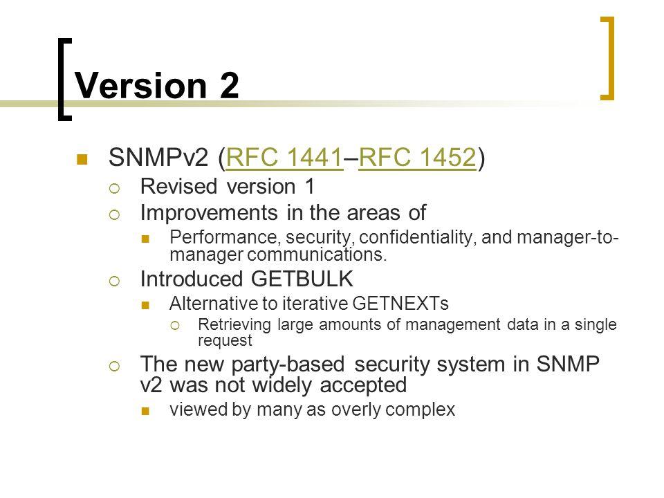 Version 2 SNMPv2 (RFC 1441–RFC 1452) Revised version 1