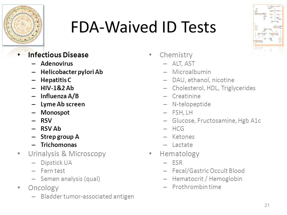 FDA-Waived ID Tests Infectious Disease Urinalysis & Microscopy