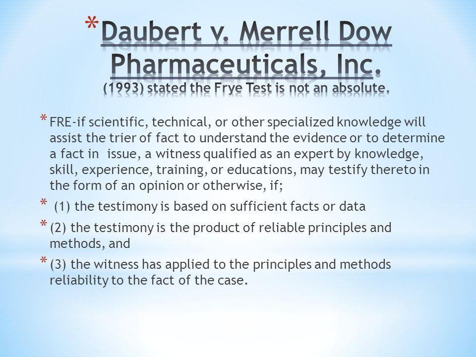 Daubert v. Merrell Dow Pharmaceuticals, Inc