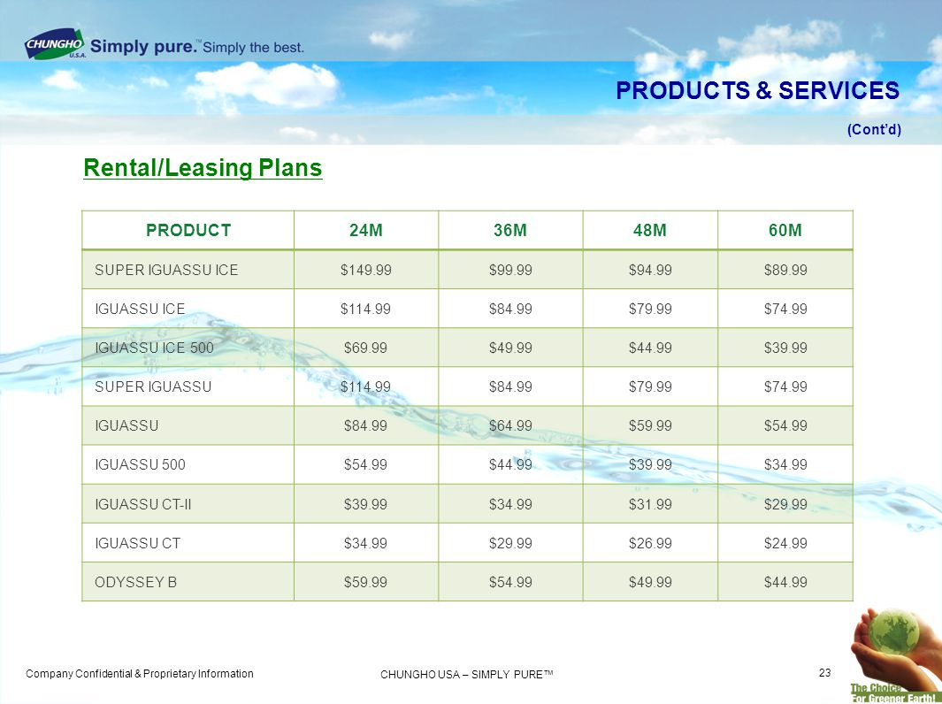 PRODUCTS & SERVICES Rental/Leasing Plans PRODUCT 24M 36M 48M 60M