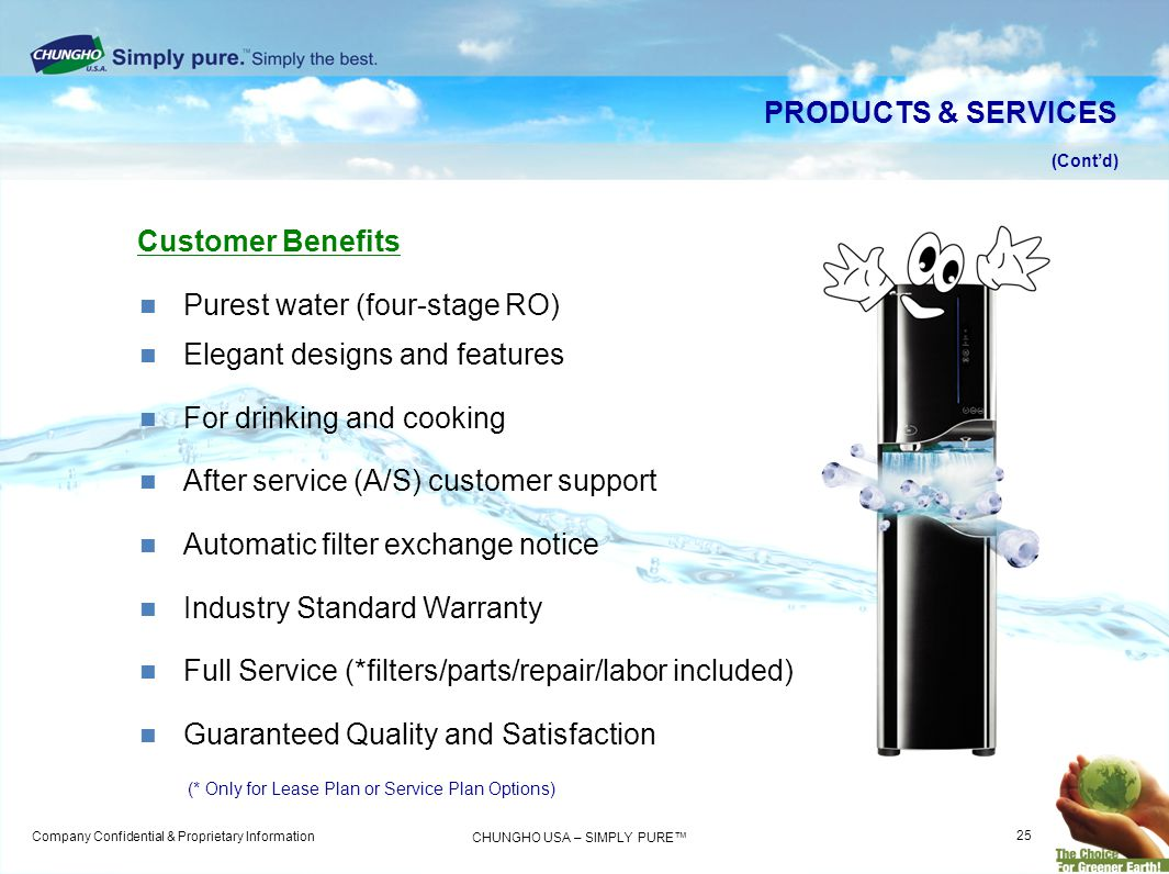 Purest water (four-stage RO) Elegant designs and features