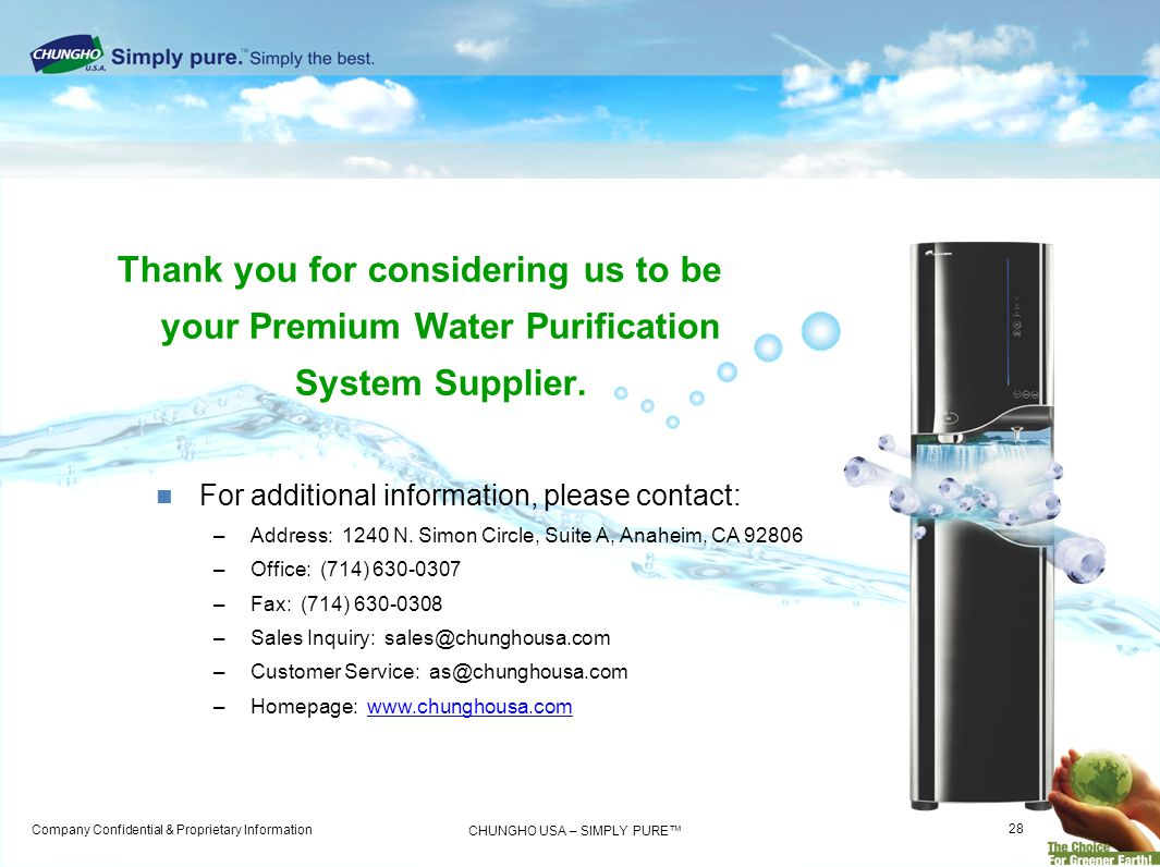 Thank you for considering us to be your Premium Water Purification System Supplier.