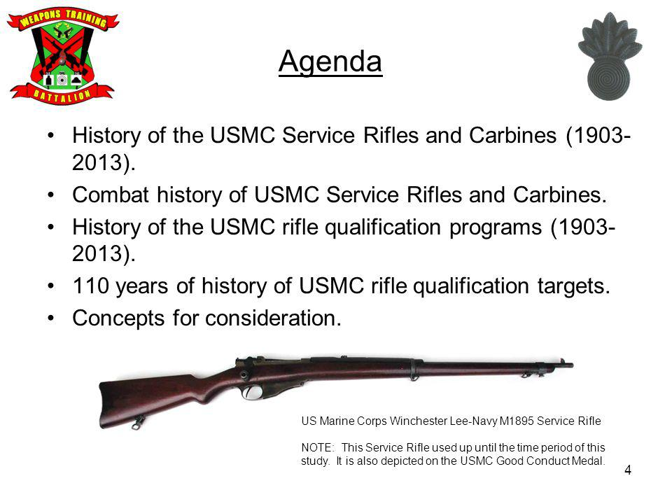 Agenda History of the USMC Service Rifles and Carbines (1903-2013).