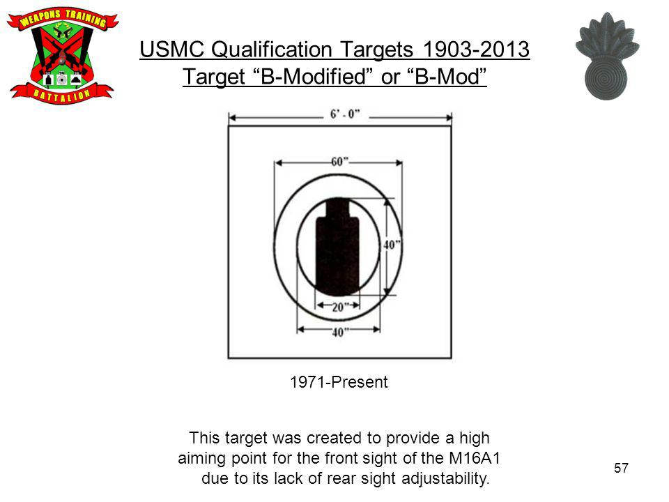 USMC Qualification Targets 1903-2013 Target B-Modified or B-Mod