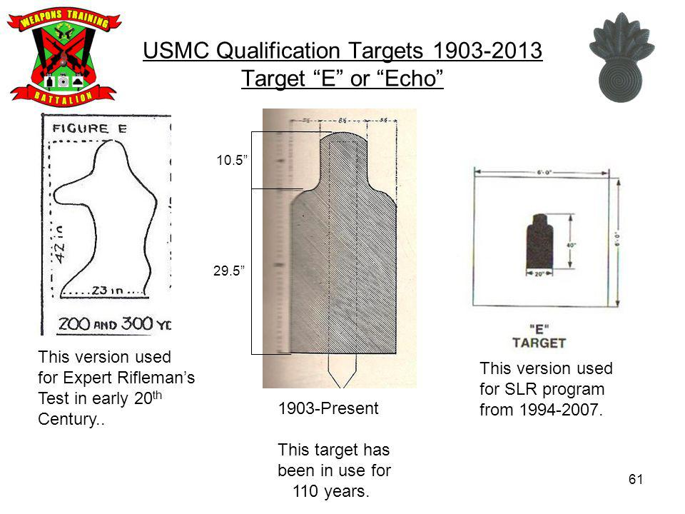 USMC Qualification Targets 1903-2013 Target E or Echo