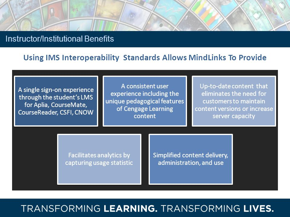 Using IMS Interoperability Standards Allows MindLinks To Provide