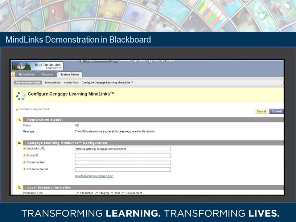 MindLinks Demonstration in Blackboard