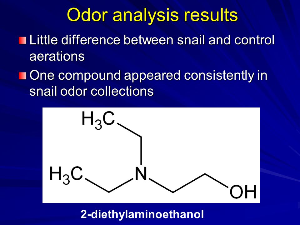 Odor analysis results Little difference between snail and control aerations. One compound appeared consistently in snail odor collections.