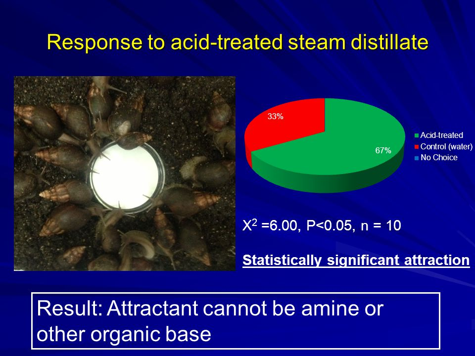 Response to acid-treated steam distillate