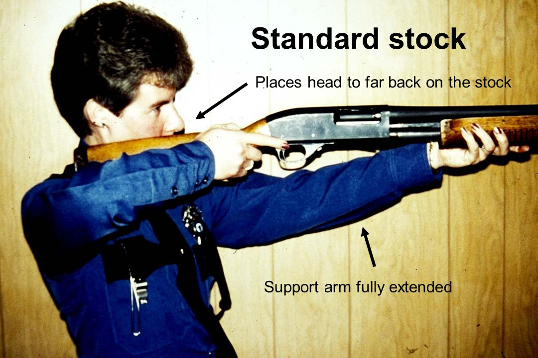 Standard stock Places head to far back on the stock