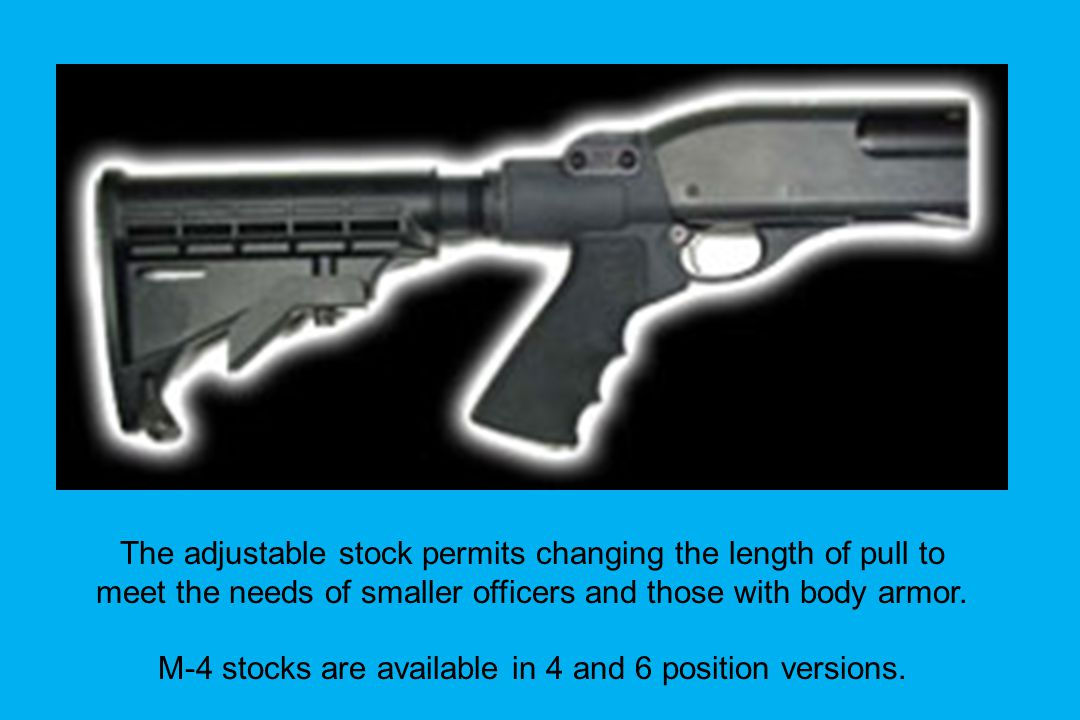 The adjustable stock permits changing the length of pull to
