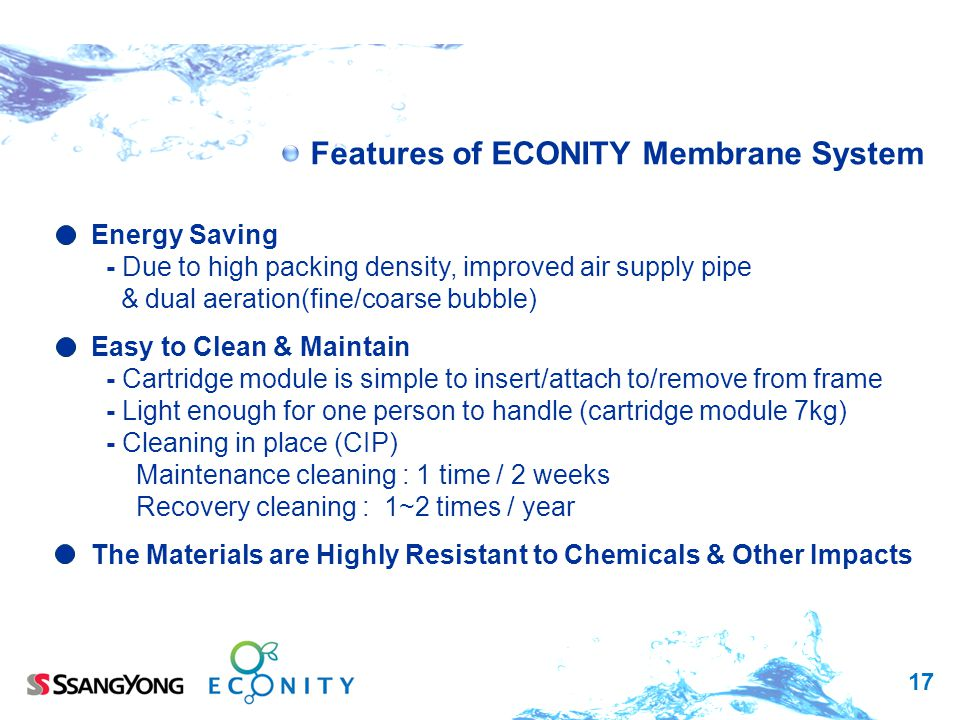 Features of ECONITY Membrane System