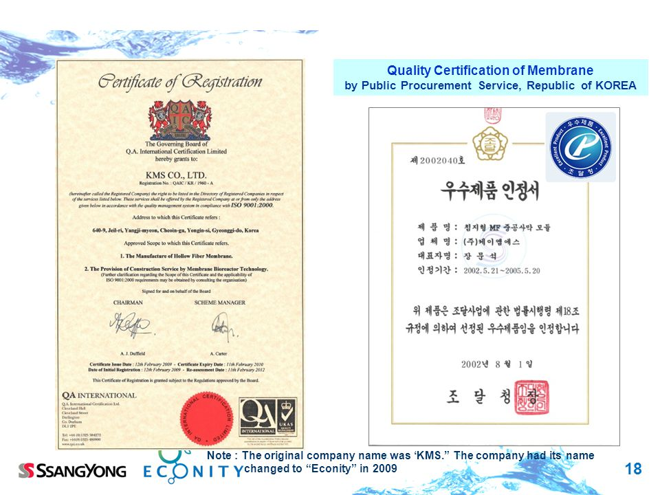 Quality Certification of Membrane