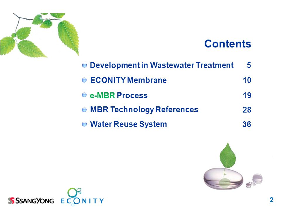 Contents Development in Wastewater Treatment 5 ECONITY Membrane 10