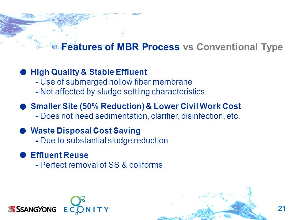 Features of MBR Process vs Conventional Type