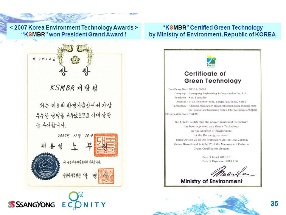 < 2007 Korea Environment Technology Awards >