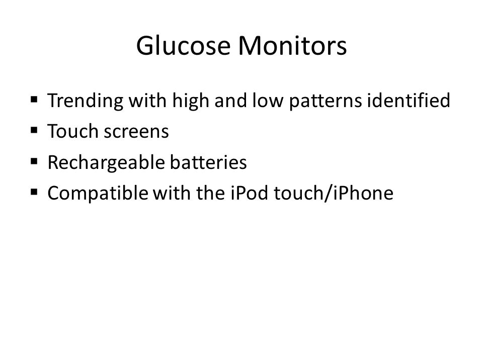 Glucose Monitors Trending with high and low patterns identified
