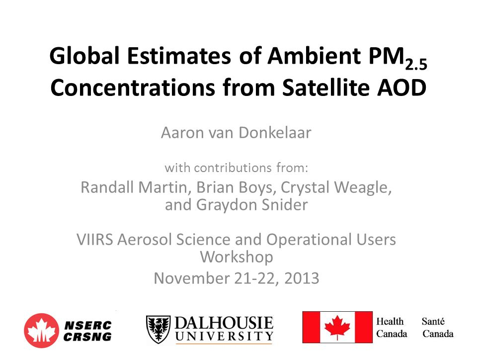 Global Estimates of Ambient PM2.5 Concentrations from Satellite AOD