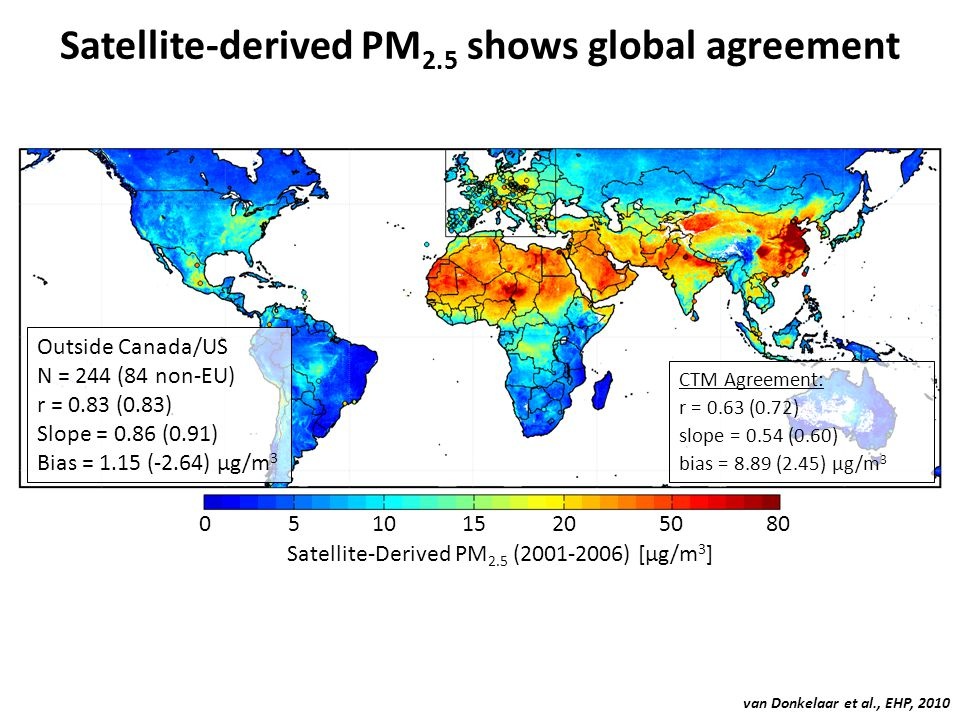 Satellite-derived PM2.5 shows global agreement