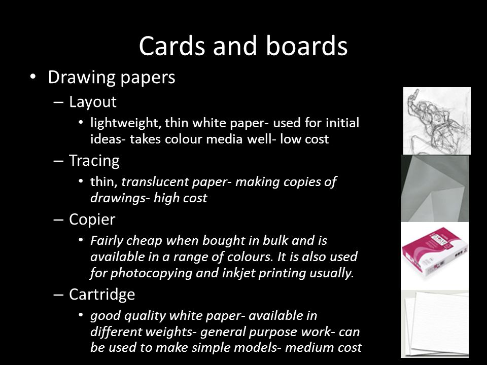 Cards and boards Drawing papers Layout Tracing Copier Cartridge