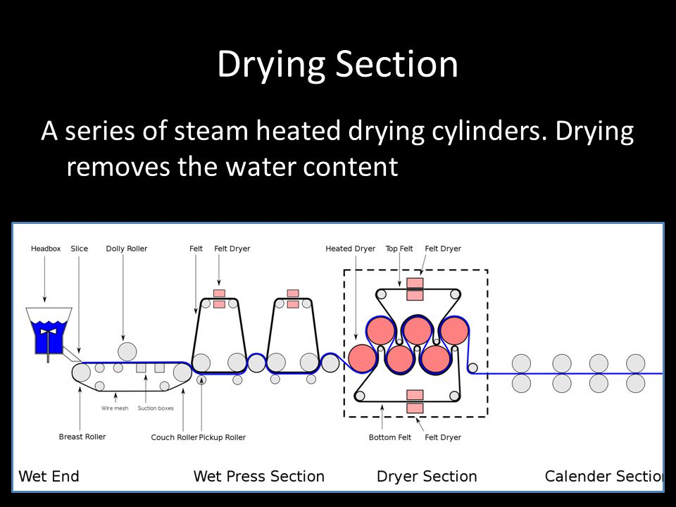 Drying Section A series of steam heated drying cylinders. Drying removes the water content