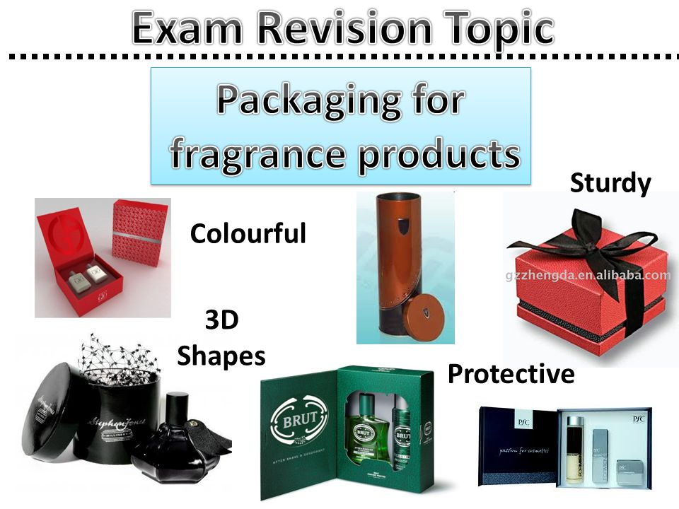 Exam Revision Topic Packaging for fragrance products Sturdy Colourful