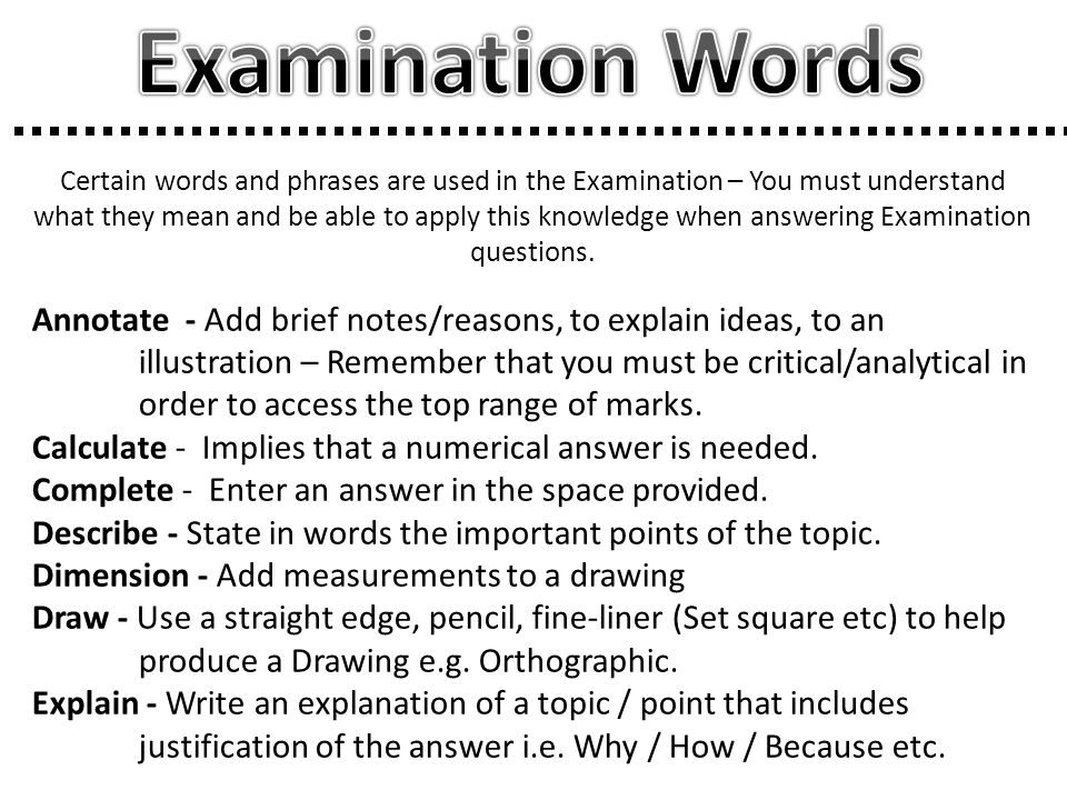 Examination Words