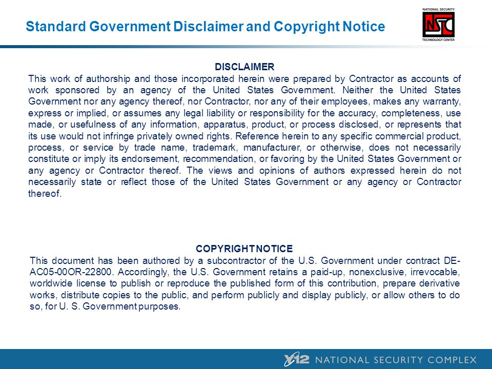 Standard Government Disclaimer and Copyright Notice
