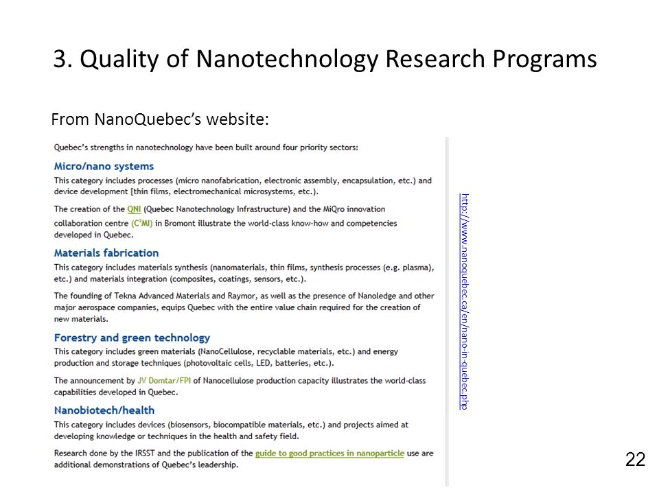 3. Quality of Nanotechnology Research Programs